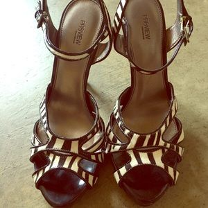 Patent and calf hair zebra heels size 8
